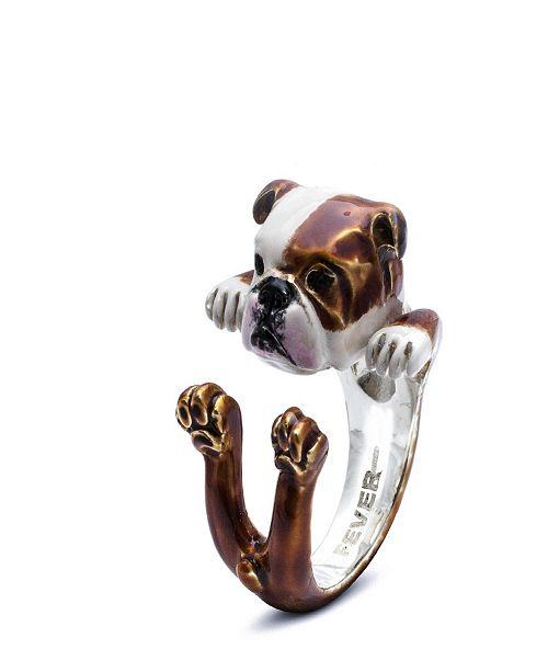 Dog Fever English Bulldog Hug Ring in Sterling Silver and Enamel