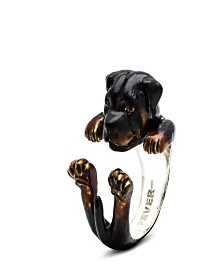 Rottweiler Hug Ring in Sterling Silver and Enamel