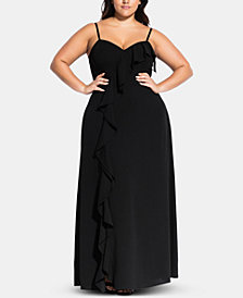 City Chic Trendy Plus Size Ruffled A-Line Dres