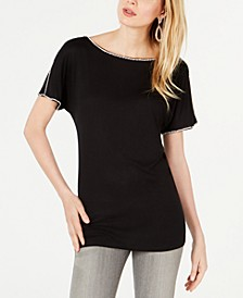 INC Short-Sleeve Jewel-Embellished Top, Created for Macy's