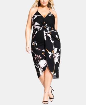 City Chic Dresses TRENDY PLUS SIZE TWISTED FLORAL-PRINT DRESS