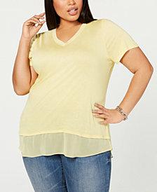 I.N.C. Plus Size Short-Sleeve V-Neck Tunic, Created for Macy's