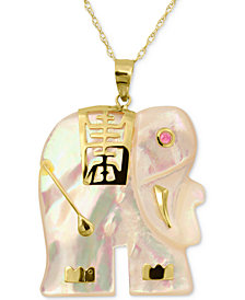 "Mother-of-Pearl & Ruby Accent 18"" Pendant Necklace in 14k Gold"