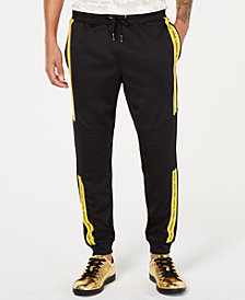 I.N.C. Men's Regular-Fit Stretch Taped Moto Joggers, Created for Macy's