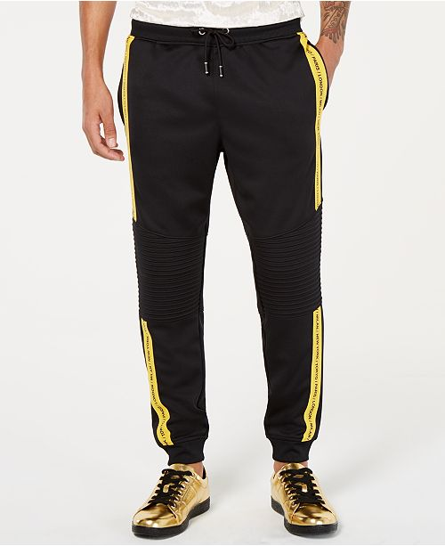 INC International Concepts I.N.C. Men's Regular-Fit Stretch Taped Moto Joggers, Created for Macy's