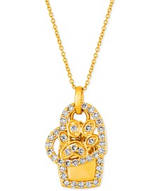"Le Vian® I Love Dogs Collection Nude Diamond Heart & Paw Dog Tag 20"" Pendant Necklace (7/8 ct. t.w.) in 14k Gold"