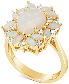 Opal (2-1/5 ct. t.w.) & Diamond (1/4 ct. t.w.) Ring in 14k Gold