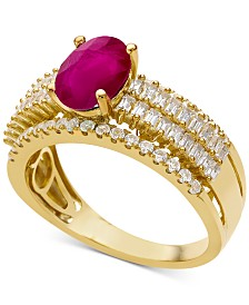 Certified Ruby (1-1/3 ct. t.w.) & Diamond (5/8 ct. t.w.) Ring in 14k White Gold(Also Available In Sapphire and Emerald)