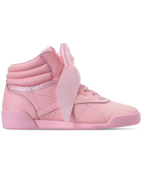 1d914ccf45cc2 ... Reebok Little Girls  Freestyle High Top Satin Bow Casual Sneakers from  Finish ...