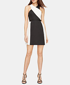 BCBGMAXAZRIA Pleated Colorblocked A-Line Dress