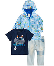 First Impressions Baby Boys Printed Hooded Jacket, Boat-Print T-Shirt & Patches Jeans, Created for Macy's