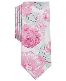Bar III Men's Kenneth Floral Skinny Tie, Created for Macy's