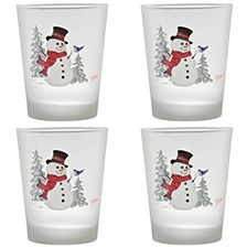 Fiesta Snowman 15-Ounce Frosted Tapered Double Old Fashioned Glass Set of 4