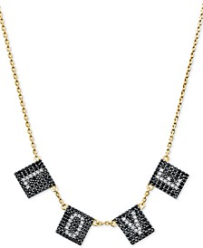"Gold-Tone Sterling Silver Pavé Love Collar Necklace, 16"" + 2"" extender"