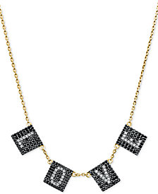 "Michael Kors Gold-Tone Sterling Silver Pavé Love Collar Necklace, 16"" + 2"" extender"