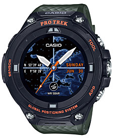 G-Shock Men's Digital Pro Trek Green Resin Strap Smart Watch 61.7mm