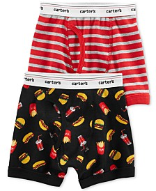 Carter's Little & Big Boys 2-Pk. Food-Print & Stripes Cotton Boxers