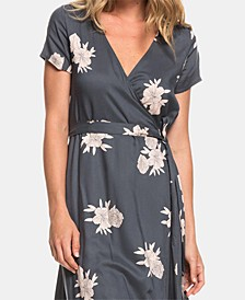 Juniors' District Day Floral-Print Wrap Dress