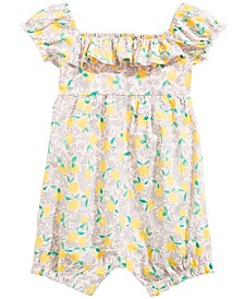 First Impressions Baby Girls Lemon-Print Cotton Romper, Created for Macy's