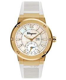 Ferragamo Men's Swiss F-80 Motion White Rubber Strap Hybrid Smart Watch 44mm