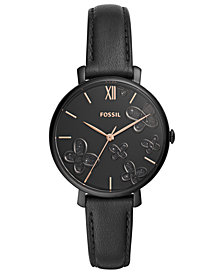 Fossil Women's Jacqueline Black Leather Strap Watch 36mm
