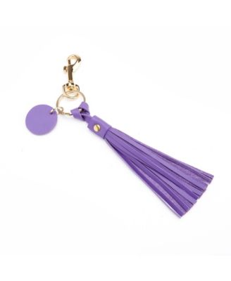 Lilac Image Black Leather Keyring in Gift Box
