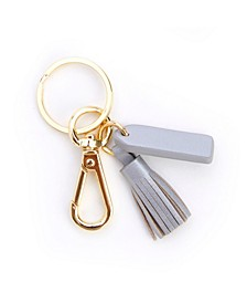 Leather Mini Tassel Key Fob with Gold Hardware