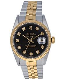 Men's Swiss Automatic Datejust Jubilee Diamond (1/8 ct. t.w.) 18K Gold & Stainless Steel Bracelet Watch 36mm