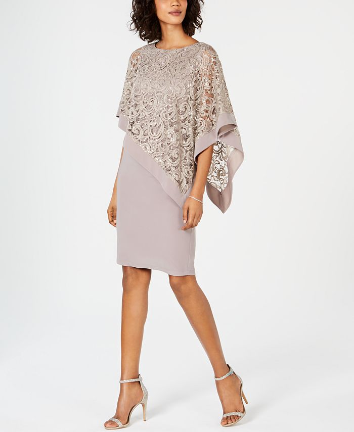 R & M Richards - Sequined Lace Poncho Dress