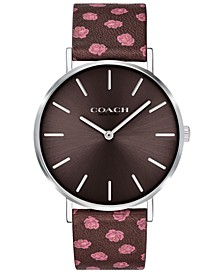 Women's Perry Oxblood Floral Leather Strap Watch 36mm Created for Macy's