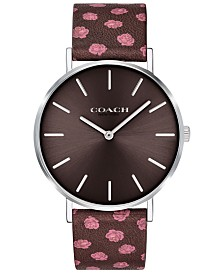 COACH Women's Perry Oxblood Floral Leather Strap Watch 36mm Created for Macy's
