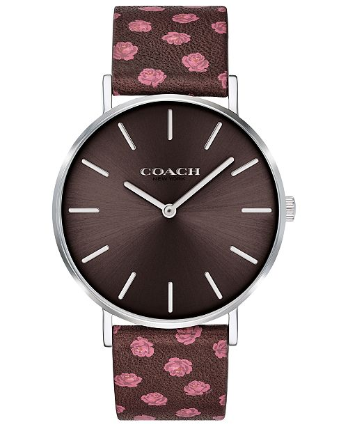 COACH Women s Perry Oxblood Floral Leather Strap Watch 36mm Created for  Macy rsquo  ... 50ccd6f202e9b