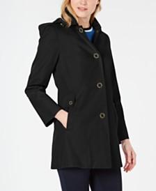 Anne Klein Water-Resistant Hooded Raincoat
