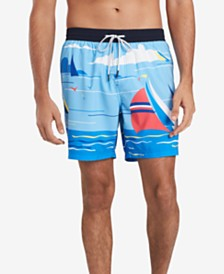 Tommy Hilfiger Men's Sailboat Graphic Swim Trunks, Created for Macy's