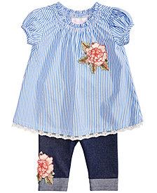 Bonnie Baby Baby Girls 2-Pc. Striped Tunic & Leggings Set