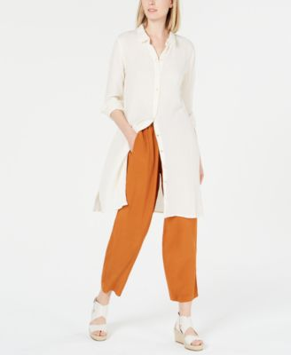 Organic Cotton Long Button-Up Shirtdress, Regular & Petite