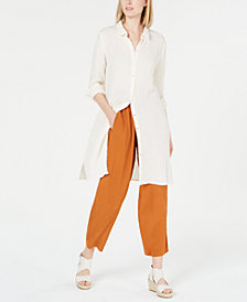 Eileen Fisher Long Organic Cotton Button-Up Shirt, Regular & Petite