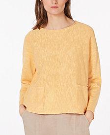 Eileen Fisher Organic Linen Patch-Pocket Sweater, Regular & Petite
