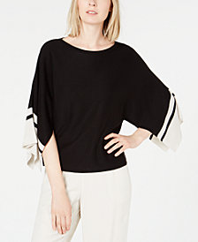 Eileen Fisher Colorblocked Split-Sleeve Sweater