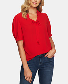 CeCe Puff-Sleeve Tie-Neck Top