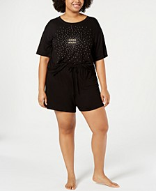 Plus Size Core Short-Sleeve Top & Pajama Shorts Sleep Separates, Created for Macy's