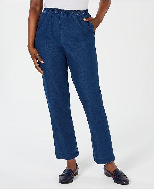 Karen Scott Petite Denim Pull-On Pants, Created for Macy's