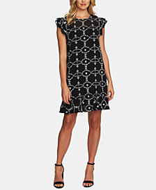CeCe Embroidered Ruffle-Sleeve Dress