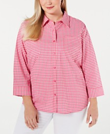 Karen Scott Plus Size Cotton Gingham Button-Up Shirt, Created for Macy's