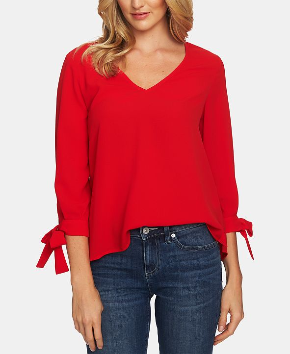 CeCe Tie-Cuff V-Neck Top