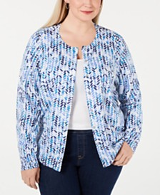 Karen Scott Plus Size Chevron-Print Cardigan, Created for Macy's