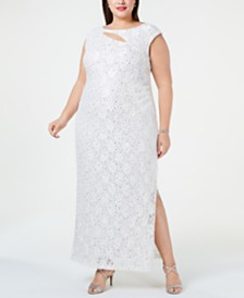 Connected Plus Size Glitter Lace Sheath Dress