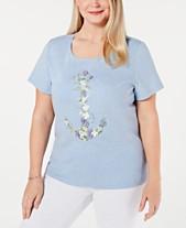 4802f9a70af Karen Scott Plus Size Cotton Spring Anchor T-Shirt