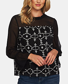 CeCe Mixed-Media Embroidered Top