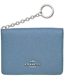 COACH Crossgrain Leather Key Ring Card Case